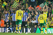 Goal. Norwich City midfielder Marco Stiepermann (18)  celebrates opening the scoring  during the EFL Sky Bet Championship match between Norwich City and Sheffield Wednesday at Carrow Road, Norwich, England on 19 April 2019.