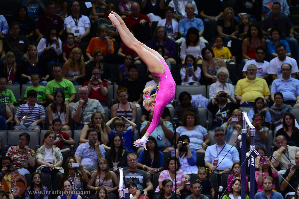 June 29, 2012; San Jose, CA, USA; Nastia Liukin performs on the uneven bars during the 2012 USA Gymnastics Olympic Team Trials at HP Pavilion.