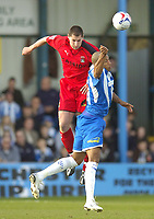 Photo: Olly Greenwood.<br />Colchester United v Coventry City. Coca Cola Championship. 10/03/2007. Colchester's Chis Iwelumo and Coventry's Colin Hawkins