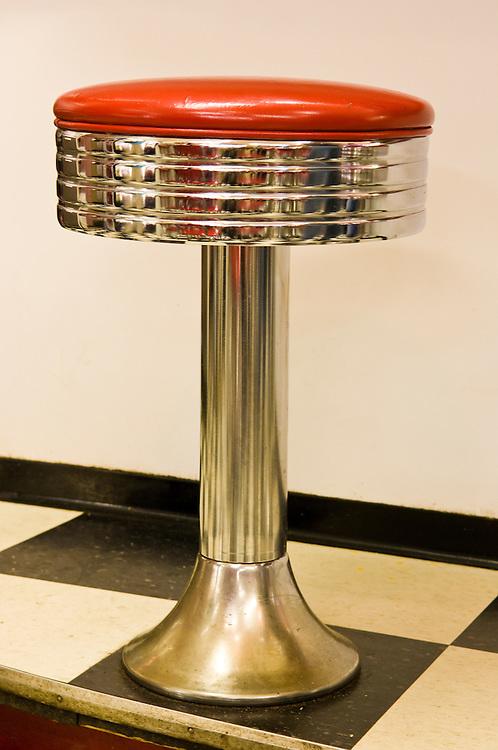 Classic chrome bar stool at Twisters Soda Fountain in Williams, Arizona