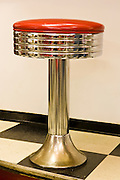 Classic chrome bar stool at Twisters Soda Fountain in Williams, Arizona