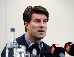 Sacked Swansea manager Michael Laudrup attends a press conference near Heathrow Airport, United Kingdom, Tuesday, 18th February 2014. Picture by David Dyson / i-Images