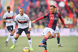 "February 10, 2019 - Bologna, Italia - Foto Massimo Paolone/LaPresse.10 febbraio 2019 Bologna, Italia.sport.calcio.Bologna vs Genoa - Campionato di calcio Serie A TIM 2018/2019 - stadio ""Renato Dall'Ara"".Nella foto: Simone Edera (Bologna F.C.) in azione contrastato da Domenico Criscito (Genoa CFC) ..Photo Massimo Paolone/LaPresse.February 10, 2019 Bologna, Italy.sport.soccer.Bologna vs Genoa - Italian Football Championship League A TIM 2018/2019 - ""Renato Dall'Ara"" stadium..In the pic: Simone Edera (Bologna F.C.) competes for the ball with Domenico Criscito  (Credit Image: © Massimo Paolone/Lapresse via ZUMA Press)"