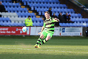 Forest Green Rovers Mark Ellis(5) passes the ball forward during the FA Trophy match between Macclesfield Town and Forest Green Rovers at Moss Rose, Macclesfield, United Kingdom on 4 February 2017. Photo by Shane Healey.