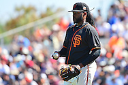 SCOTTSDALE, AZ - MARCH 09:  Johnny Cueto #47 of the San Francisco Giants in action in the first inning against the Colorado Rockies at Scottsdale Stadium on March 9, 2016 in Scottsdale, Arizona.  (Photo by Jennifer Stewart/Getty Images) *** Local Caption *** Johnny Cueto