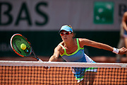 Paris, France - 2017 June 02: Alicja Rosolska from Poland plays a forehand while her women's double match second round during tennis Grand Slam tournament The French Open 2017 (also called Roland Garros) at Stade Roland Garros on June 02, 2017 in Paris, France.<br /> <br /> Mandatory credit:<br /> Photo by &copy; Adam Nurkiewicz<br /> <br /> Adam Nurkiewicz declares that he has no rights to the image of people at the photographs of his authorship.<br /> <br /> Picture also available in RAW (NEF) or TIFF format on special request.<br /> <br /> Any editorial, commercial or promotional use requires written permission from the author of image.