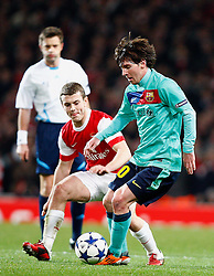 16.02.2011, Emirates Stadium, London, ENG, UEFA CL, FC Arsenal vs FC Barcelona, im Bild Barcelona's Lionel Messi  with Arsenal's Jack Wilshere   in Arsenal vs Barcelona for the UCL  ,Round of last 16, at the Emirates Stadium in London on 16/02/2011, EXPA Pictures © 2011, PhotoCredit: EXPA/ IPS/ Kieran Galvin +++++ ATTENTION - OUT OF ENGLAND/GBR and France/ FRA +++++