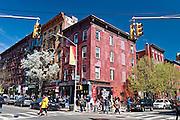 Bedford Avenue in the Williamsburg neighborhood in Brooklyn, New York is full of life on a Spring weekend.