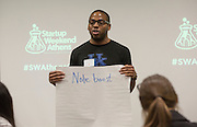 Evan Simmons gives his pitch at Startup Weekend Athens at the Ohio University Innovation Center on March 18, 2016.