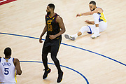 Golden State Warriors guard Stephen Curry (30) hits the floor after a missed three point shot attempt against the Cleveland Cavaliers during Game 1 of the NBA Finals at Oracle Arena in Oakland, Calif., on May 31, 2018. (Stan Olszewski/Special to S.F. Examiner)