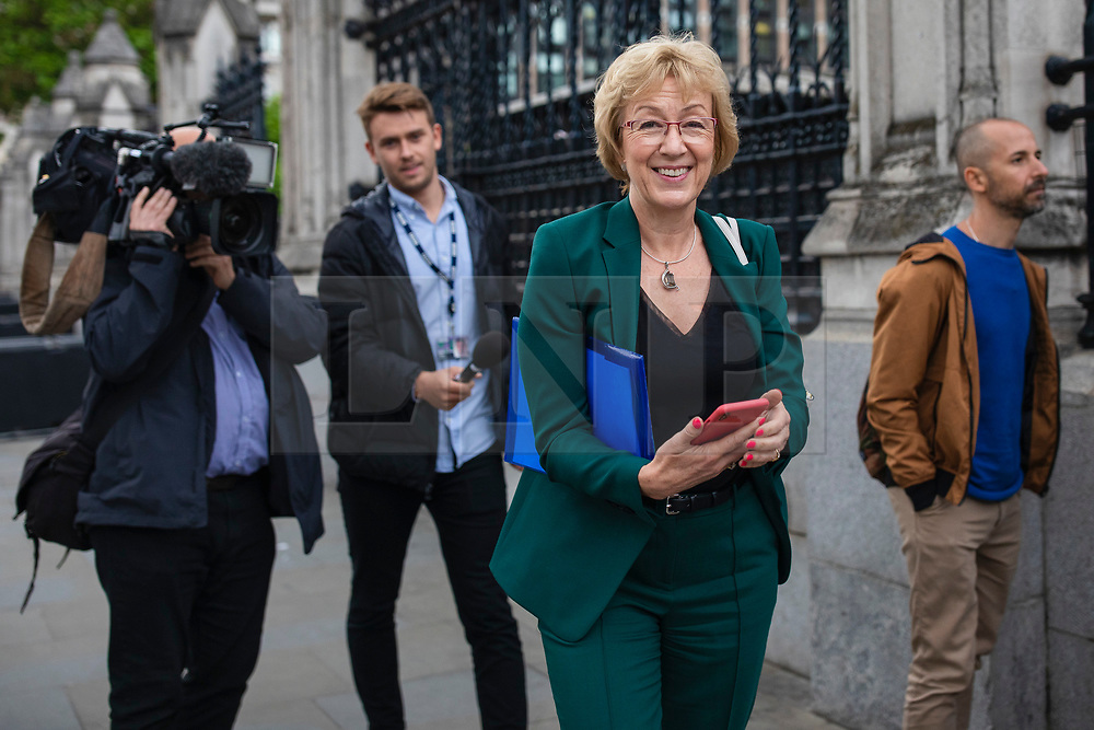 © Licensed to London News Pictures. 19/06/2019. London, UK. Former Leader of the House of Commons Andrea Leadsom MP, who is supporting Boris Johnson to become Leader of the Conservative Party and the next Prime Minister, is seen leaving Parliament after the results of the third round of the leadership contest. Rory Stewart MP has been voted out of the race. Photo credit: Rob Pinney/LNP
