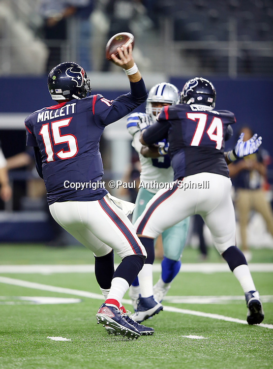 Houston Texans quarterback Ryan Mallett (15) throws a first quarter pass during the 2015 NFL preseason football game against the Dallas Cowboys on Thursday, Sept. 3, 2015 in Arlington, Texas. The Cowboys won the game 21-14. (©Paul Anthony Spinelli)
