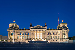 Evening view of the Reichstag Parliament building in Berlin Germany