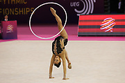Lino Ashram, Israel, takes bronze on hoop during the 33rd European Rhythmic Gymnastics Championships at Papp Laszlo Budapest Sports Arena, Budapest, Hungary on 21 May 2017. Linty Ashram, Israel, wins bronze. Photo by Myriam Cawston.