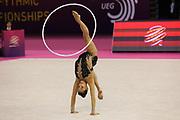 Lino Ashram, Israel, takes bronze on hoop during the 33rd European Rhythmic Gymnastics Championships at Papp Laszlo Budapest Sports Arena, Budapest, Hungary on 21 May 2017. Linty Ashram, Israel, wins bronze. Photo by Myriam Cawston.