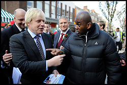 London Mayor Boris Johnson campaigning on the final week of his Mayoral Campaign, London, UK, April 21, 2012. Photo By Andrew Parsons / i-Images.