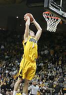 04 JANUARY 2007: Iowa guard Adam Haluska (1) drunks the ball in Iowa's 62-60 win over Michigan State at Carver-Hawkeye Arena in Iowa City, Iowa on January 4, 2007.