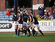 16th September 2017, Dens Park, Dundee, Scotland; Scottish Premier League football, Dundee versus St Johnstone; Dundee's A-Jay Leitch-Smith is congratulated after scoring