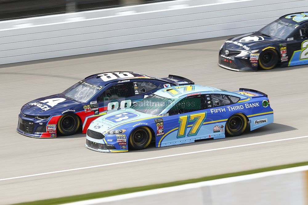 August 12, 2018 - Brooklyn, Michigan, United States of America - Ricky Stenhouse, Jr (17) and Alex Bowman (88) battle for position during the Consumers Energy 400 at Michigan International Speedway in Brooklyn, Michigan. (Credit Image: © Chris Owens Asp Inc/ASP via ZUMA Wire)