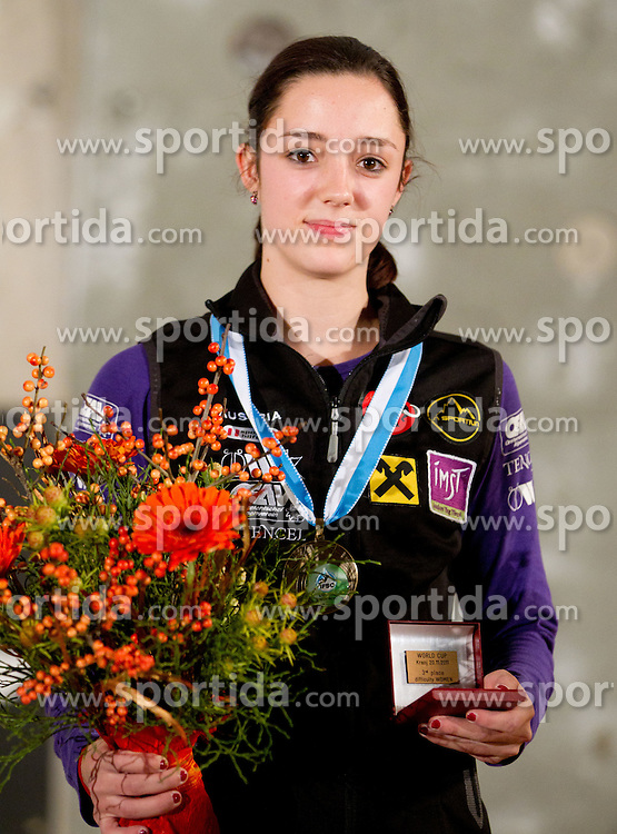 Third placed Katharina Posch of Austria during medal ceremony after the women final competition of IFSC Climbing World Cup Kranj 2011, on November 20, 2011 in Arena Zlato Polje, Kranj, Slovenia. (Photo By Vid Ponikvar / Sportida.com)