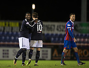 30th January 2018, Tulloch Caledonian Stadium, Inverness, Scotland; Scottish Cup 4th round replay, Inverness Caledonian Thistle versus Dundee; Dundee's Roarie Deacon congratulates goalscorer Scott Allan at the end