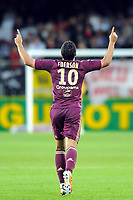 FOOTBALL - FRENCH CHAMPIONSHIP 2010/2011 - L1 - STADE BRESTOIS v OLYMPIQUE LYONNAIS - 16/05/2011 - PHOTO PASCAL ALLEE / DPPI - JOY EDERSON AFTER HIS GOAL.