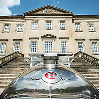 Picture by Christian Cooksey/CookseyPix.com on behalf of Dumfries House and Halogen Communications. For further information please contact Alex Schweitzer-Thompson on 0131 202 0120<br /> <br /> Dumfries House estate in East Ayrshire played host to 75 motoring enthusiasts and their vintage cars at the weekend.<br /> As part of a tradition that has run each Whit Weekend since 1959, the Scottish arm of the Bentley Drivers&rsquo; Club took in some of the finest sights the country has to offer. The group chose to spend Sunday afternoon proceeding through the 2000-acre estate, near Cumnock, that serves as a major tourist attraction thanks to hundreds of acres of beautiful gardens and an 18th-century house containing an unrivalled collection of Chippendale furniture.<br /> <br /> Pictured is the Flying B emblem on the front of a vintage Bentley outside the front of Dumfries House.<br /> <br /> All rights reserved. For full terms and conditions see www.cookseypix.com