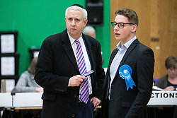 © Licensed to London News Pictures . 13/12/2019. Bury, UK. IVAN LEWIS (left), former Labour and now Independent candidate for the constituency of Bury South , talks with a Conservative Party supporter at the count for seats in the constituencies of Bury North and Bury South in the 2019 UK General Election , at Castle Leisure Centre in Bury . Photo credit: Joel Goodman/LNP
