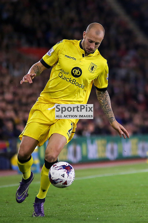 Alan Hutton on the ball During Southampton vs Aston Villa on Wednesday the 28th October 2015.
