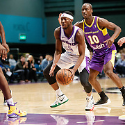 Reno Bighorns Guard JOSH HAGINS (5) drives into a sea of South Bay Lakers during the Western Conference Semi-Final NBA G-League Basketball game between the Reno Bighorns and the South Bay Lakers at the Reno Events Center in Reno, Nevada.