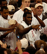MORNING JOURNAL/DAVID RICHARD.Ohio State center Greg Oden points to fans after the Buckeyes defeated  Wisconsin for the Big Ten Championship Sunday, Feb. 25, 2007, in Columbus, Ohio.