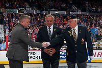 REGINA, SK - MAY 25: NHL Alumni Guy Lafleur stands on the ice as Ron Hitchcock of the Royal Canadian Legion shakes the hand of Humboldt Broncos president Kevin Garinger at the Brandt Centre on May 25, 2018 in Regina, Canada. (Photo by Marissa Baecker/CHL Images)