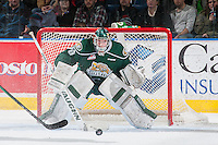 KELOWNA, CANADA - DECEMBER 30: Carter Hart #70 of Everett Silvertips defends the net against the Kelowna Rockets on December 30, 2015 at Prospera Place in Kelowna, British Columbia, Canada.  (Photo by Marissa Baecker/Shoot the Breeze)  *** Local Caption *** Carter Hart;