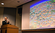 """Jeff Goodell, investigative journalist and author of """"Big Coal,"""" uses Google Earth to show his audience the proliferation of coal power plants in the East Coast during his lecture on the perils of coal energy on Wednesday, April 16, 2008 in Ohio University's Scripps Auditorium."""