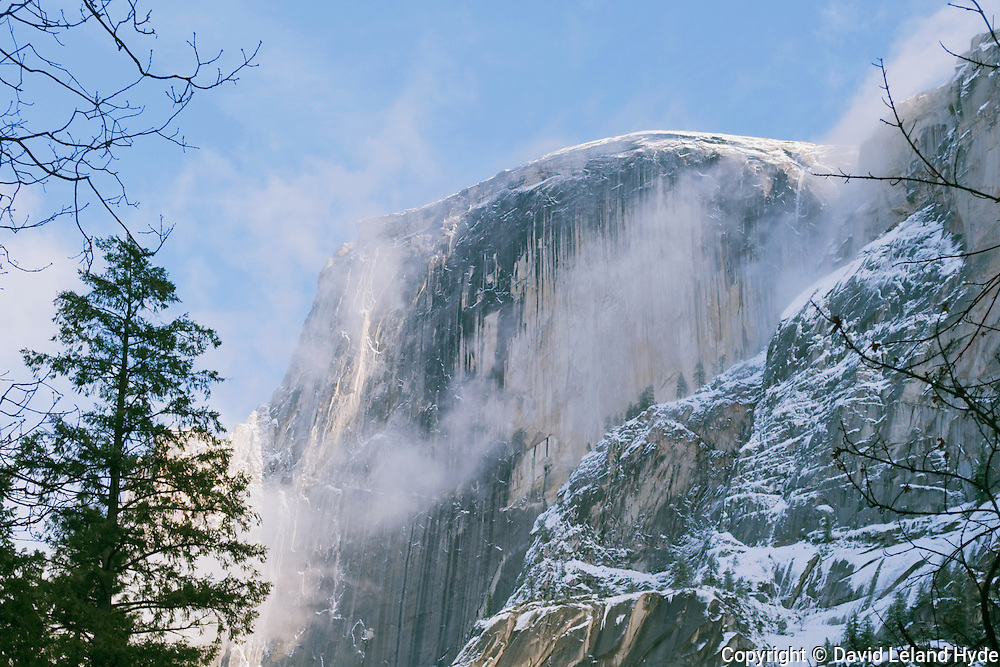 Half Dome from the Mirror Lake Trail, Yosemite National Park, Sierra Nevada mountains low winter sun, Sierra mist, fresh snow, oak trees, Giant Sequoia, dark forest, California mountains