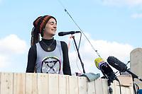 07 OCT 2019, BERLIN/GERMANY:<br /> Carola Rackete, Kaptaenin Rettungsorganisation Sea Watch, haelt eine Rede, Extinction Rebellion (XR), eine globale Umweltbewegung protestiert mit der Blockade von Verkehrsknotenpunkten fuer eine Kehrtwende in der Klimapolitik, Grosser Stern, Siegessäule<br /> IMAGE: 20191007-01-024<br /> KEYWORDS: Demonstration, Demo, Demonstraten, Klima, Klimawandel, climate change, protest, Klimakrise