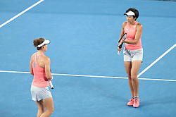 MELBOURNE, Jan. 23, 2019  Zhang Shuai (R) of China and Samantha Stosur of Australia react during the women's doubles semifinal match against Barbora Strycova and Marketa Vondrousova of the Czech Republic at 2019 Australian Open in Melbourne, Australia, Jan. 23, 2019. (Credit Image: © Xinhua via ZUMA Wire)