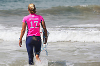Huntington Beach, CA - August 06: Sage Erickson entering for the semi-final heat at the Vans US Open of Surfing in Huntington Beach, California on August 6th, 2017. (Photo Jim Kruger/Kruger-images.com)