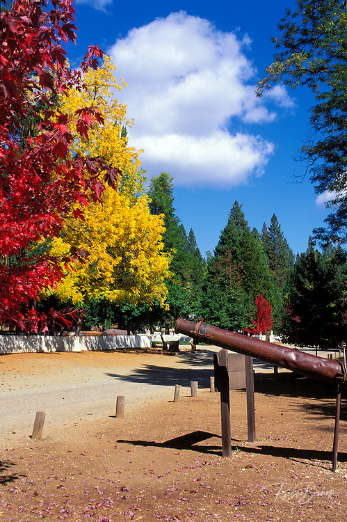 A giant monitor (used in hydraulic mining) and fall color in North Bloomfield, Malakoff Diggins State Historic Park, Gold Country (Highway 49), California