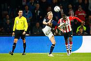 09-04-2016 VOETBAL:PSV:WILLEM II:EINDHOVEN<br /> Nick van der Velden van Willem II plukt de bal weg voor Jetro Willems van PSV <br /> Foto: Geert van Erven