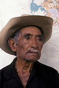 Portrait of Guatemalan man with cataract, Antigua, Guatemala