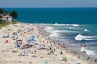 A summer crowd on Rincon Beach in Carpinteria, California.