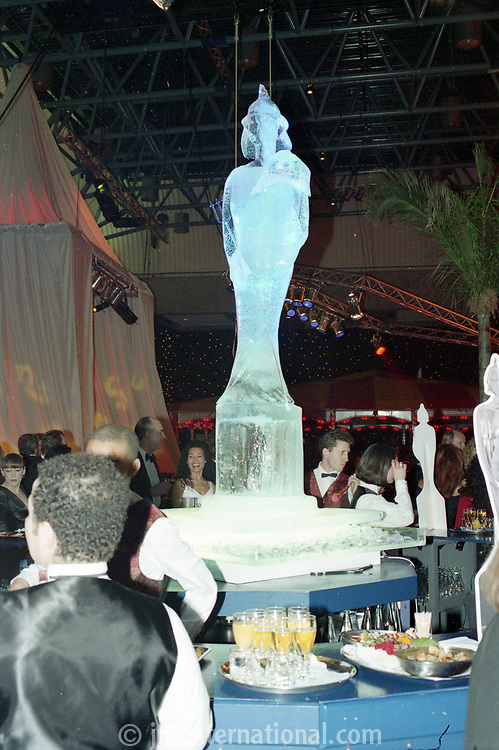 Champagne Reception Ice Statue, The BRIT Awards 1995 <br /> Monday 20 Feb 1995.<br /> Alexandra Palace, London, England<br /> Photo: JM Enternational