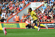 Aston Villa's Gabriel Agbonlahor during the Barclays Premier League match between Bournemouth and Aston Villa at the Goldsands Stadium, Bournemouth, England on 8 August 2015. Photo by Mark Davies.