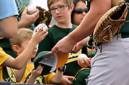 PEORIA, AZ - MARCH 05:  An Oakland Athletics player signs autographs for fans prior to the spring training game against the Seattle Mariners at Peoria Stadium on March 5, 2017 in Peoria, Arizona.  (Photo by Jennifer Stewart/Getty Images)