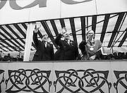 St Patrick's Day Parade.1982.17/03/1982.03.17.1982.Lord Mayor Fitzgerald, Tom Stafford and Ray Burke T.D. wave to the Los Angeles group