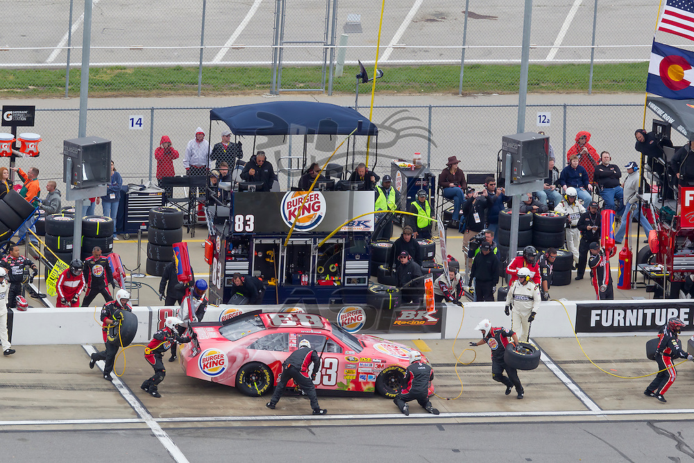KANSAS CITY, KS - APR 22, 2012:  Landon Cassill (83) races during the STP 400 at the Kansas Speedway in Kansas City, KS.