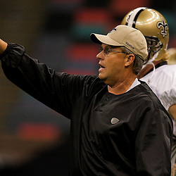 24 August 2009: Saints defensive coordinator Gregg Williams instructs players during New Orleans Saints training camp practice at the Louisiana Superdome in New Orleans, Louisiana.