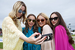 LIVERPOOL, ENGLAND - Friday, June 16, 2017: Models take a selfie during Day Two of the Liverpool Hope University International Tennis Tournament 2017 at the Liverpool Cricket Club. (Pic by David Rawcliffe/Propaganda)