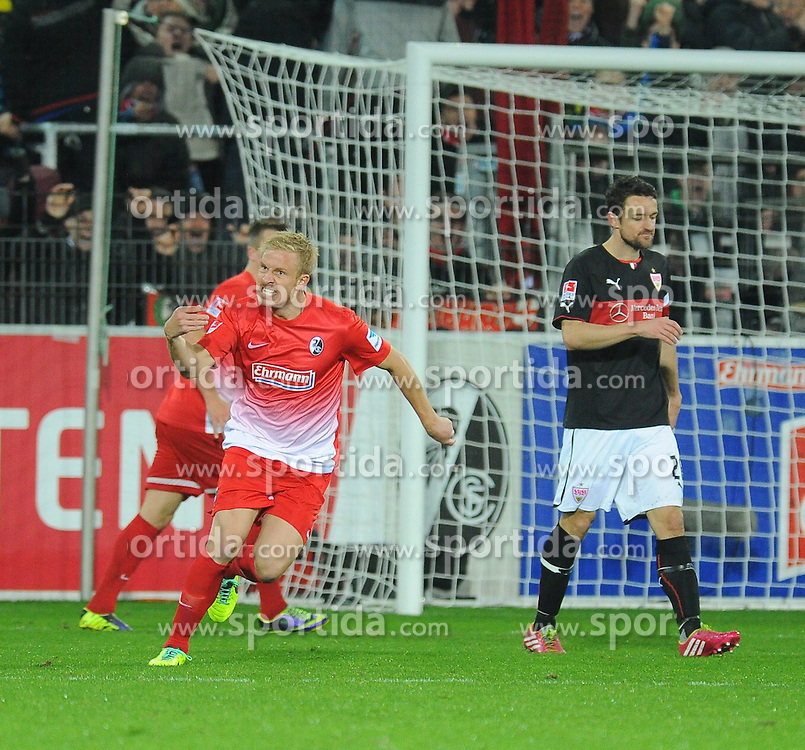 10.11.2013, Mage Solar Stadion, Freiburg, GER, 1. FBL, SC Freiburg vs VfB Stuttgart, 12. Runde, im Bild Jubel bei Mike Hanke (SC Freiburg) // during the German Bundesliga 12th round match between SC Freiburg and VfB Stuttgart at the Mage Solar Stadion, Freiburg, Germany on 2013/11/10. EXPA Pictures &copy; 2013, PhotoCredit: EXPA/ Eibner-Pressefoto/ Laegler<br /> <br /> *****ATTENTION - OUT of GER*****